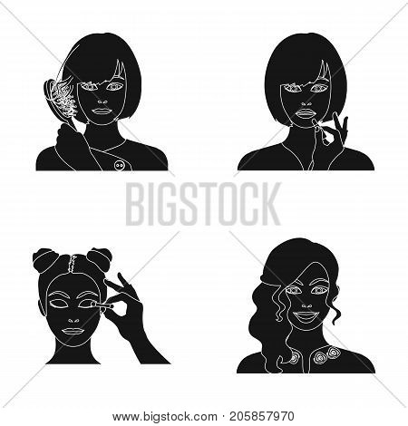 Hairdresser, cosmetic, salon, and other  icon in black style.Means, hygiene, care icons in set collection.