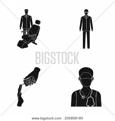 Doctor in a face mask, dentist, medical staff, a blood test for sugar. Medicineset collection icons in black style vector symbol stock illustration .