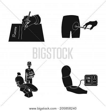 Intramuscular injection, prescription, Dentist, blood pressure measurement. Medicineset collection icons in black style vector symbol stock illustration . poster