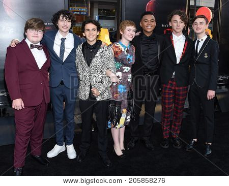 LOS ANGELES - SEP 05:  Jeremy Ray Taylor, Finn Wolfhard, Jack Dylan Grazer, Sophia Lillis, Chosen Jacobs, Wyatt Oleff, Jaeden Lieberher arrives 'IT' September 5, 2017 Hollywood, CA