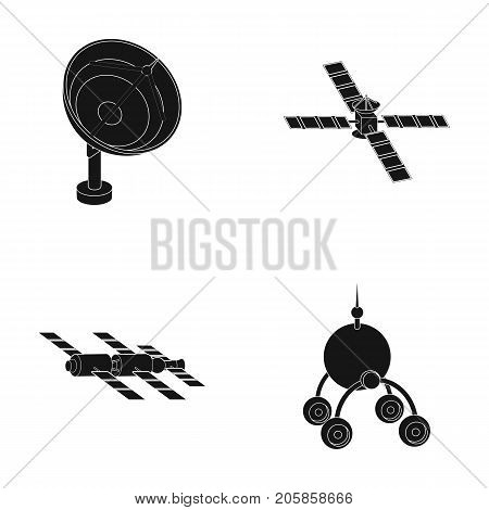 Radio radar, docking in space spacecraft, Lunokhod. Space technology set collection icons in black style vector symbol stock illustration .