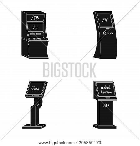 Medical terminal, ATM for payment, apparatus for queue, . Terminals set collection icons in black style isometric vector symbol stock illustration .