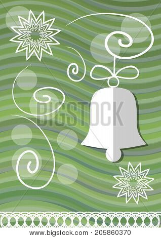 Christmas decoration with paper cut xmas symbols on green wavy background christmas bell and lace stars vector EPS 10