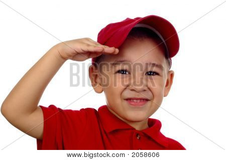 Boy Saluting And Smiling