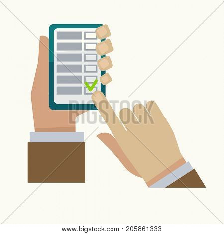 Man hand and smartphone check list  icon