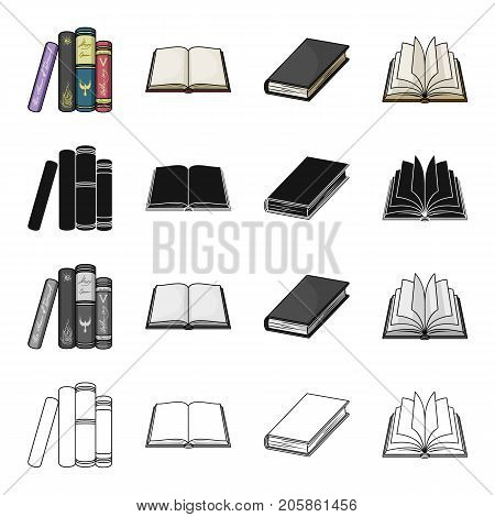 Different types of books, literature, textbook, dictionary. Book set collection icons in cartoon black monochrome outline style vector symbol stock illustration .