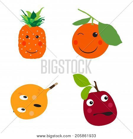 Set of fruits on a white background, Vector illustration