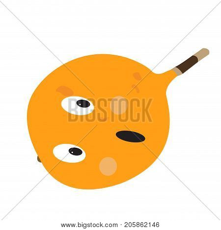 Isolated surprised passion fruit on a white background, Vector illustration