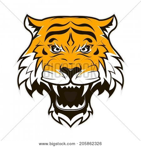 Angry Tiger Face. Roaring tiger head.