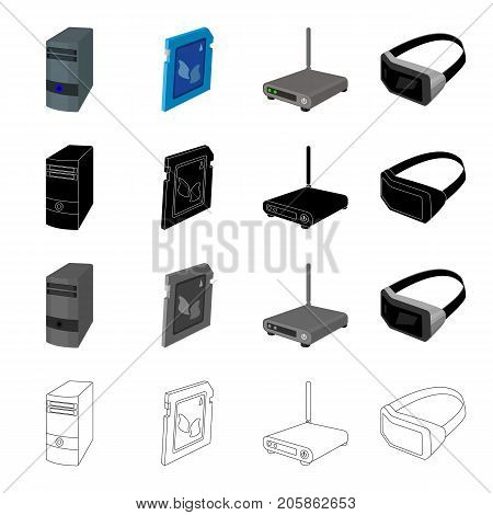 Computer equipment system unit, router, 3D glasses, memory card. Computer Accessories set collection icons in cartoon black monochrome outline style vector symbol stock illustration .