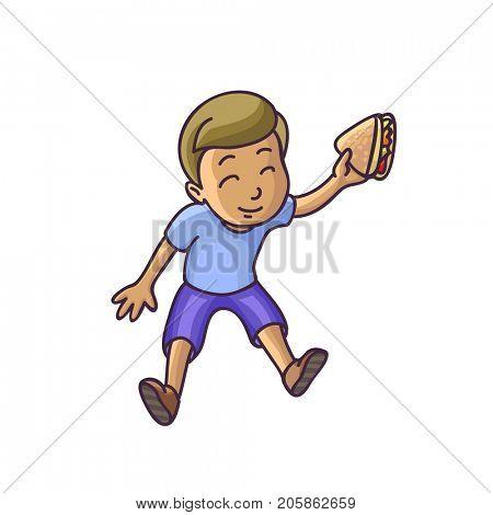 Boy sitting on floor top veiw.