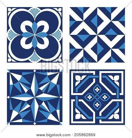 Vintage Ornamental Pattern Tiles in Blue and Black