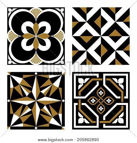 Vintage Ornamental Pattern Tiles in Gold and Black