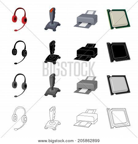 Computer equipment earphone with microphone, joystick, printer, processor . Computer Accessories set collection icons in cartoon black monochrome outline style vector symbol stock illustration .