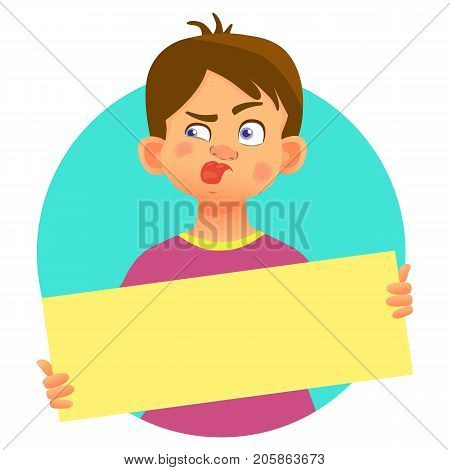 Boy holding blank poster with tongue sticking out. Blank message illustration. Hands holding blank paper