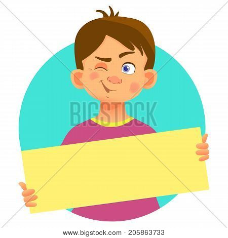 Winking boy holding blank poster. Blank message illustration. Hands holding blank paper