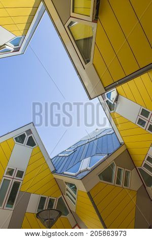 Rotterdam The Netherlands -May 11 2017: Modern Buildings City Architecture Design Elements Known as Cubic Houses Designed by Piet Blom in Rotterdam City Center in May 11 2017 in Rotterdam The Netherlands. Vertical Image