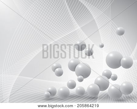 Gray balls on abstract background. Vector illustration.