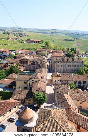 Barbaresco town aerial view. Vineyards from Langhe regionItaly agriculture. Unesco world heritage site