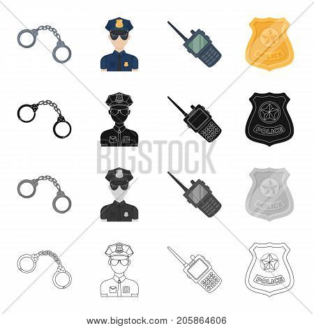Handcuffs, Policeman in uniform, walkie-talkie, police badge. Police set collection icons in cartoon black monochrome outline style vector symbol stock illustration .