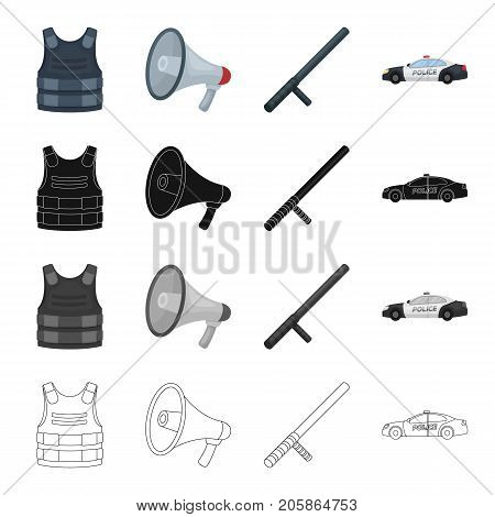 Bulletproof vest, loudspeaker, police baton, car. Police set collection icons in cartoon black monochrome outline style vector symbol stock illustration .