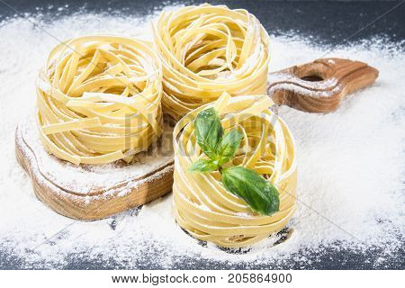 Tasty Fresh Colorful Ingredients For Cooking Pasta Tagliatelle