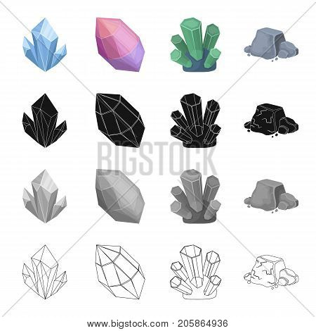 Blue mineral aquamarine, pink amethyst, precious jade, iron ore. Precious mineral set collection icons in cartoon black monochrome outline style vector symbol stock illustration .