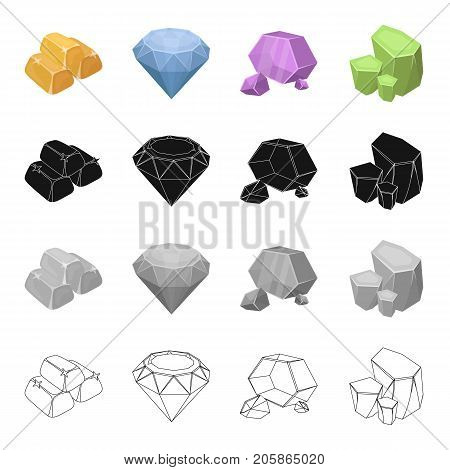 Ingots gold, brilliant precious mineral, untreated stone, malachite. Precious mineral set collection icons in cartoon black monochrome outline style vector symbol stock illustration .