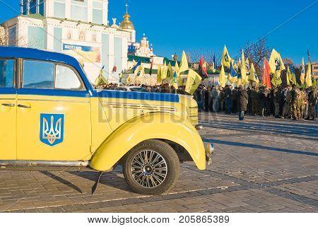 KIEV (KYIV) UKRAINE - November 21 2014:Defense Maidan rally at St. Michael's Square in Kiev