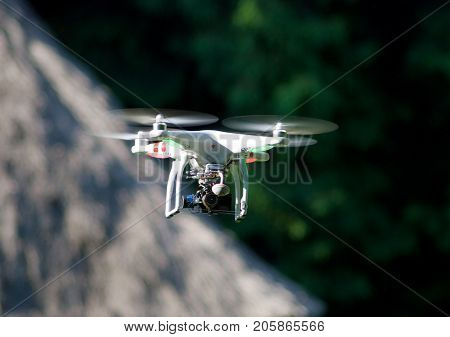 KIEV (KYIV) UKRAINE - May 22 2014:RC helicopter (multicopter) with a camera in-flight
