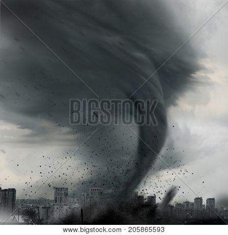 tornado twisting above city