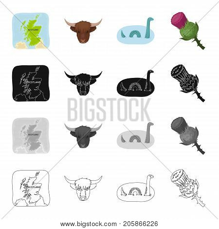 The territory of Scotland on the map, the head of the buffalo, the Loch Ness monster, the thistle flower. Country Scotland set collection icons in cartoon black monochrome outline style vector symbol stock illustration .