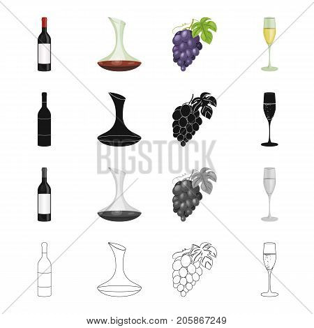 A bottle of wine, a vessel with alcohol, a branch of grapes, a glass of wine. Winemaking set collection icons in cartoon black monochrome outline style vector symbol stock illustration .
