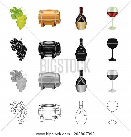 A bunch of white grapes, a wine barrel, a bottle of alcohol, a glass of wine. Winemaking set collection icons in cartoon black monochrome outline style vector symbol stock illustration .