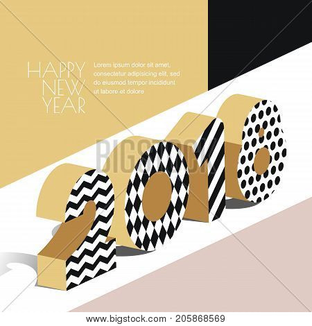 Happy New Year 2018 Vector Greeting Card With Golden Textured Numbers In 3D Isometric Style.
