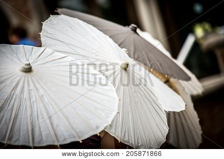 Row of white parasols randomly placed in a row.