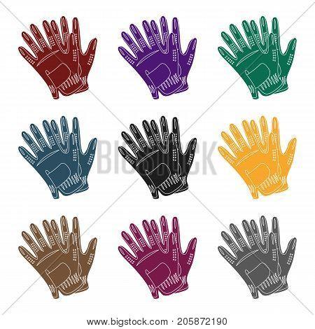 Golf gloves.Golf club single icon in black style vector symbol stock illustration .