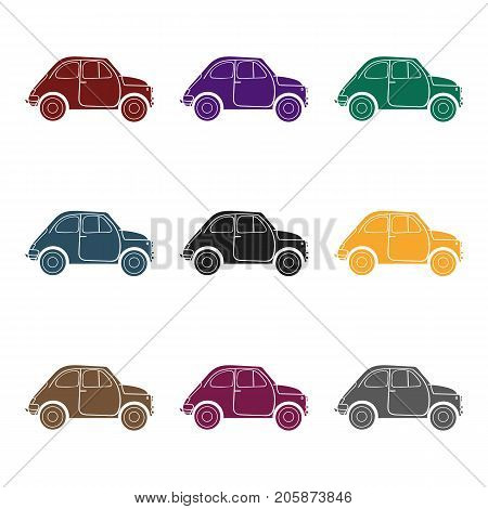Italian retro car from Italy icon in black style isolated on white background. Italy country symbol vector illustration.