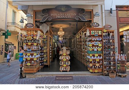 RETHYMNO, CRETE, GREECE - JULY 24, 2016 - Cretan gift shop on tourist shopping street in the old town Rethymno, Crete, Greece