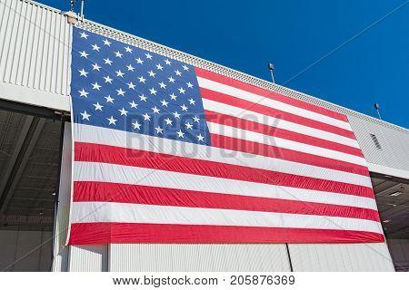 Large American Flag  At The Miramar Air Show