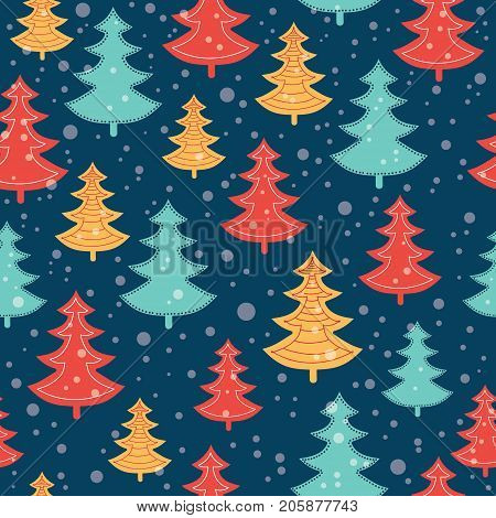 Vector blue, red, and yellow scattered christmas trees winter holiday seamless pattern on dark blue background. Great for fabric, wallpaper, packaging, giftwrap. Surface pattern design.