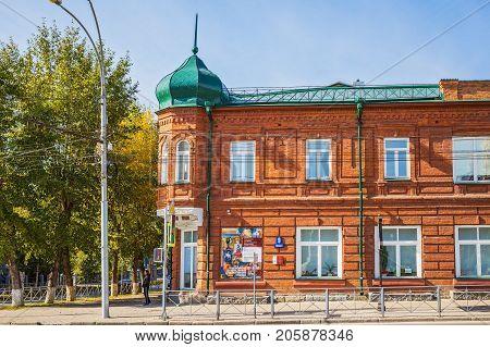 Novosibirsk Siberia Russia - September 17 2017: the house of the merchant F. D. Mashtakova - a monument of architecture (the year 1903) Krasny Prospekt 9 (Sverdlov St.)