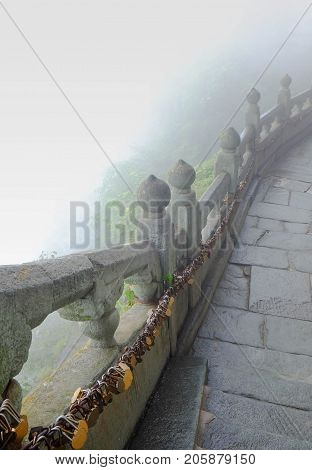 The Wudang MountainsHubei China. Many Taoist monasteries to be found thereIt's world heritate and famous in one of China. This here have a good weather sometime it a lot of the fog. It's especially name