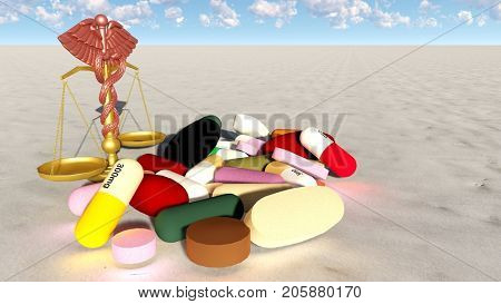 abstract theme of natural virtue in medicinal drug 3d rendering