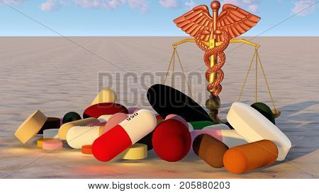 abstract idea of justice in medicine 3d rendering