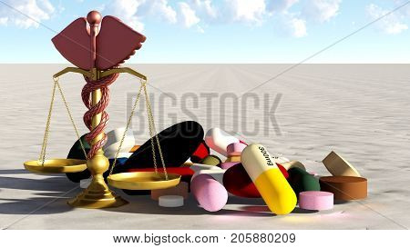 abstract view of justice in practice of medicine 3d rendering