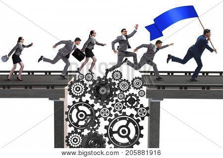 Business people crossing the bridge with cogwheels