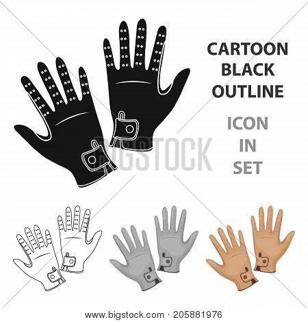 Jockey's gloves icon in cartoon design isolated on white background. Hippodrome and horse symbol stock vector illustration.