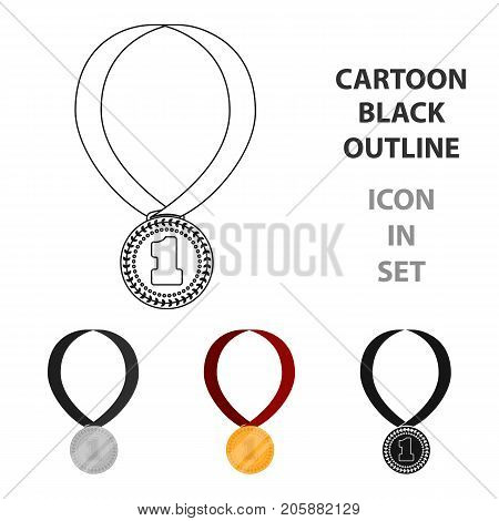 Gold medal for equestrian sport icon in cartoon design isolated on white background. Hippodrome and horse symbol stock vector illustration.