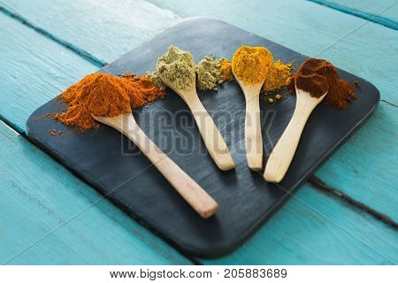Close-up of various spice powder in wooden spoon